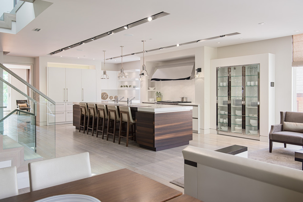 Trendy galley open concept kitchen photo in Ottawa with flat-panel cabinets and white cabinets