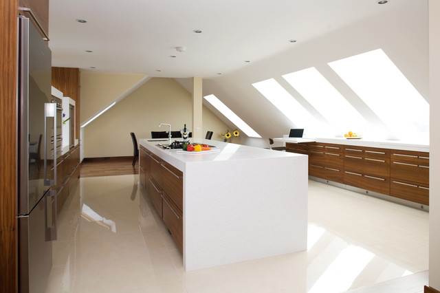 Walnut and White contemporary-kitchen