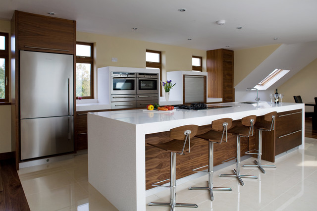 Contemporary Veneer Walnut Kitchen Grey Worktop