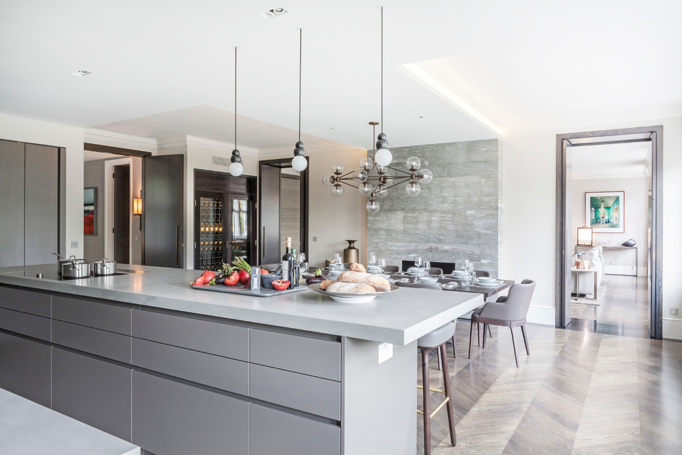 This is an example of a contemporary kitchen/diner in London with flat-panel cabinets, grey cabinets, medium hardwood flooring and an island.