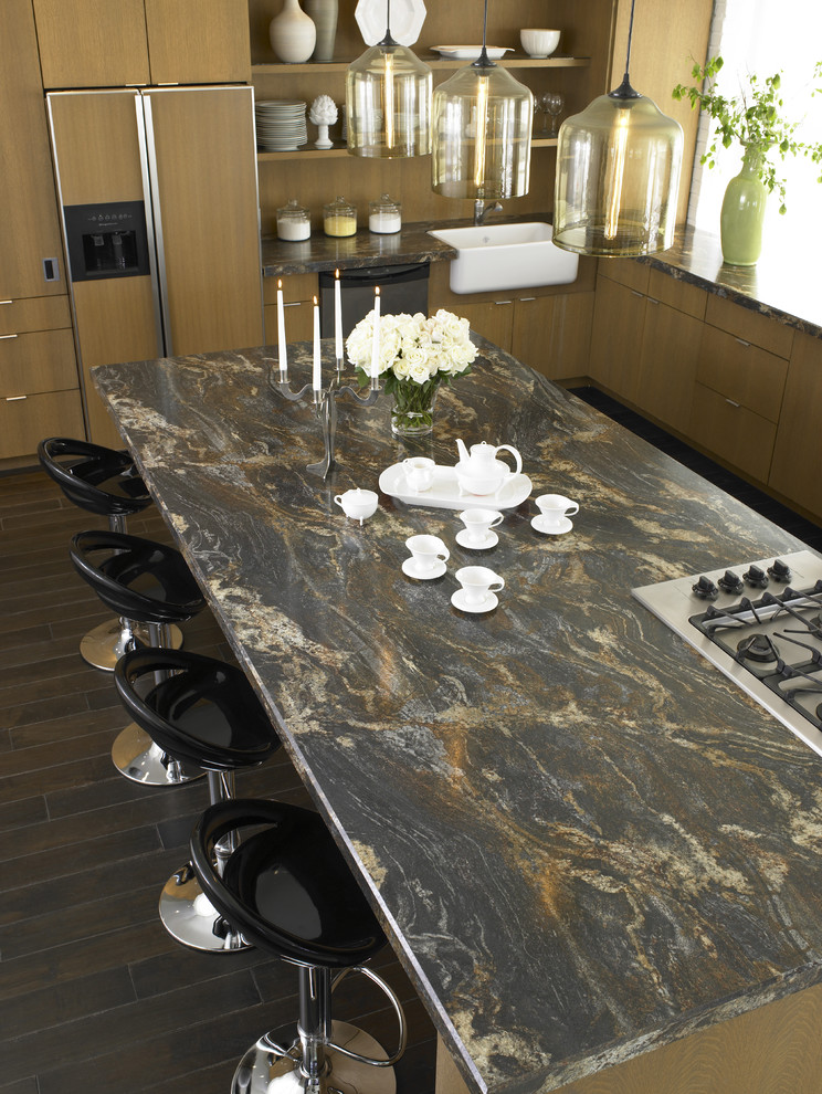 Trendy kitchen photo in Cincinnati with a farmhouse sink, flat-panel cabinets and light wood cabinets