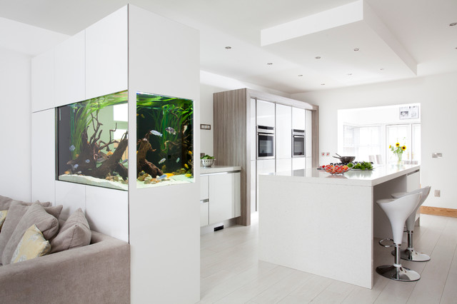 Modern white gloss driftwood kitchen with fish tank for Contemporary fish tank