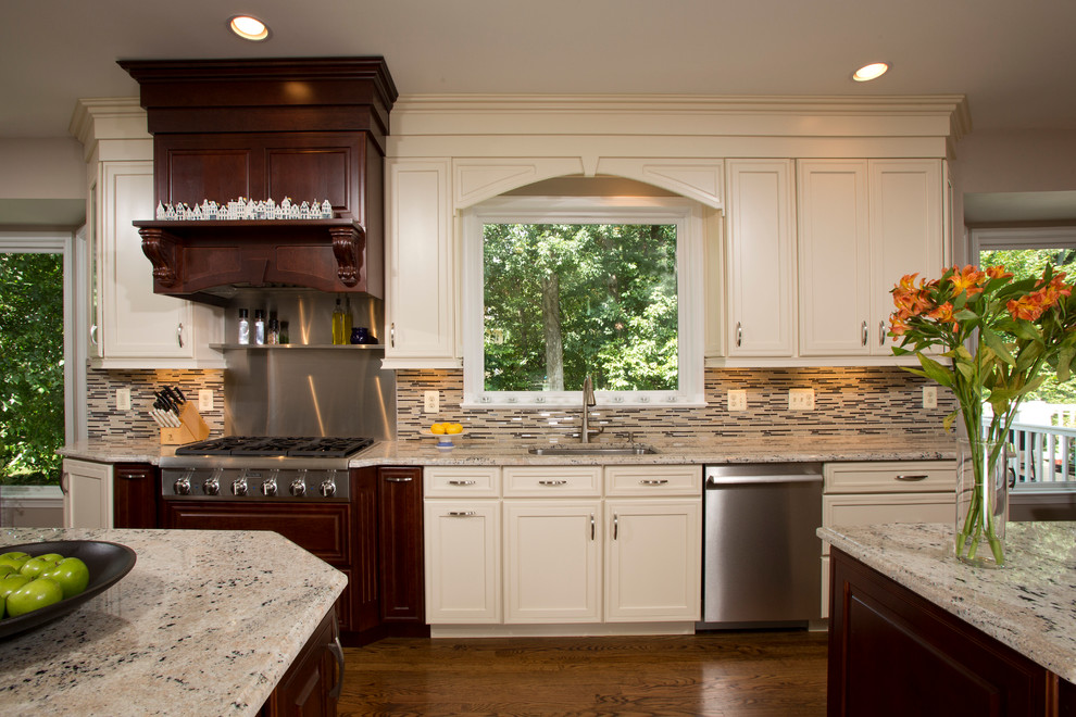 Mid-sized trendy kitchen photo in DC Metro with granite countertops, stainless steel appliances and two islands