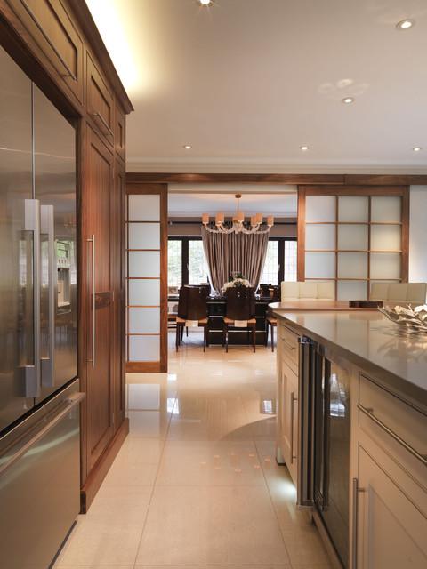 Contemporary Kitchen in Walnut & Soft Grey contemporary-kitchen