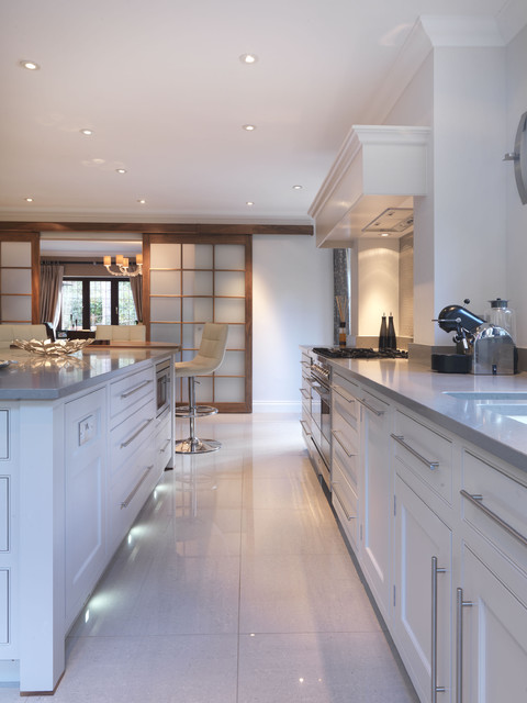 Contemporary Kitchen In Walnut Soft Grey Contemporary Kitchen - Soft grey kitchen