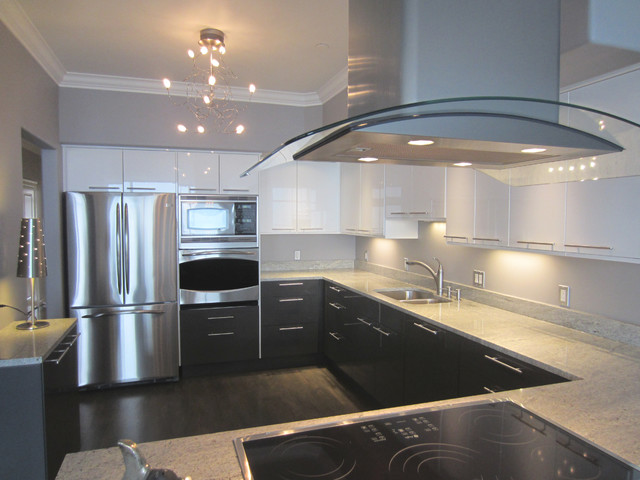Contemporary kitchen installation with ikea cabinets for Kitchen cabinets seattle