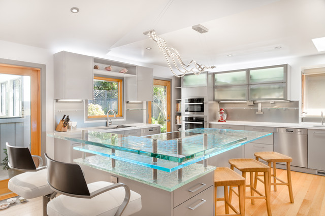 Contemporary Kitchen Island In California With A Raised Bar