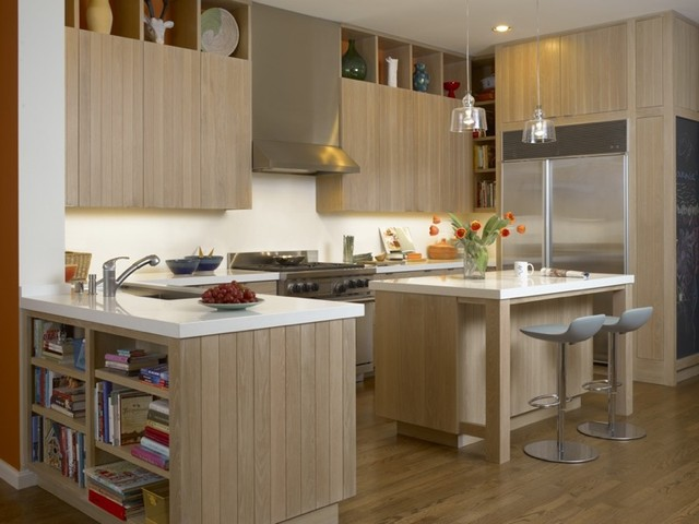 White oak kitchen cabinets and island contemporary for Contemporary oak kitchen cabinets