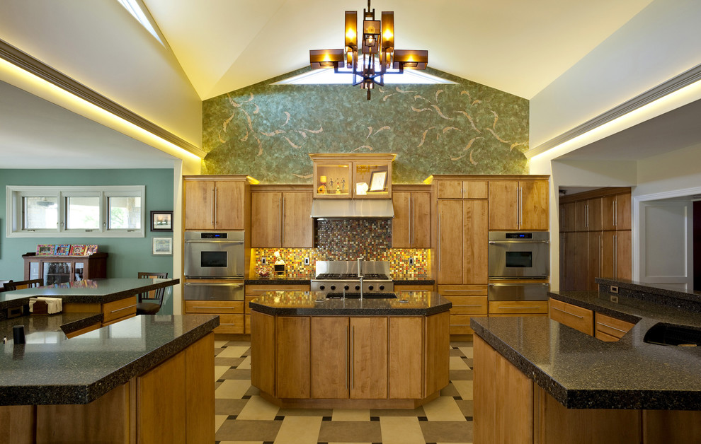 Inspiration for a large contemporary u-shaped porcelain tile open concept kitchen remodel in Chicago with flat-panel cabinets, medium tone wood cabinets, multicolored backsplash, mosaic tile backsplash, stainless steel appliances, a single-bowl sink, granite countertops and two islands