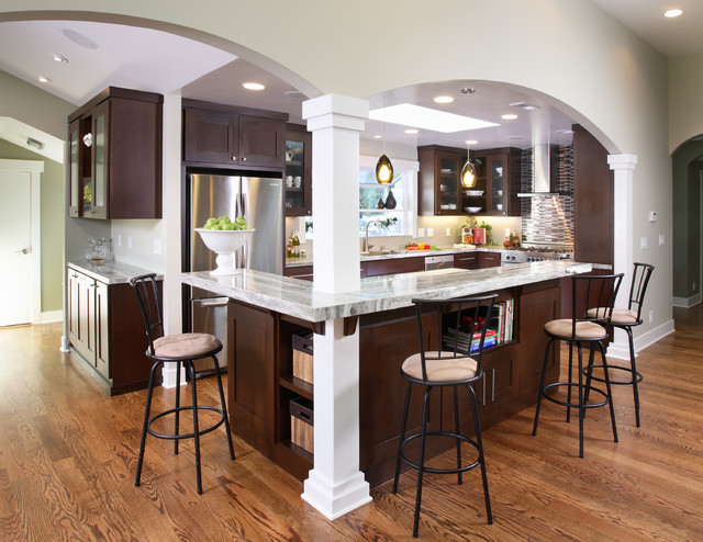Contemporary kitchen for L shaped breakfast bar
