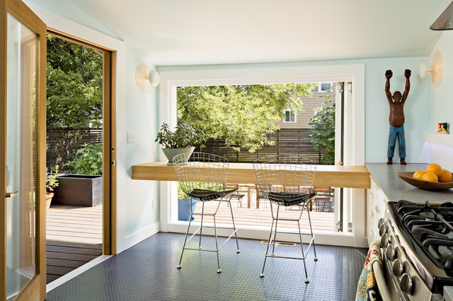 Kitchen Bar With View Of Rear Yard Contemporary