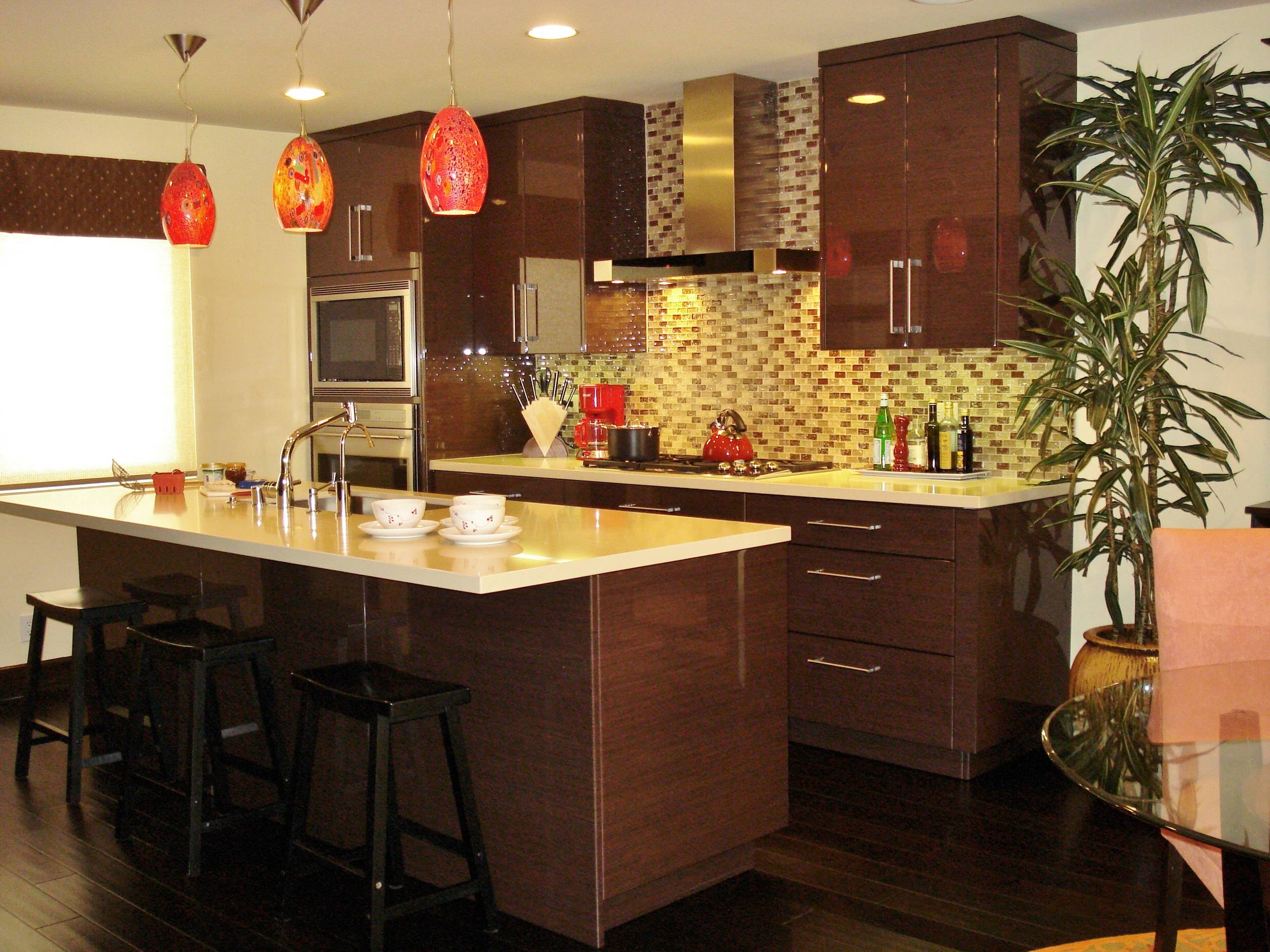 Contemporary kitchen remodel in Marina Del Rey featuring High Gloss cabinetry