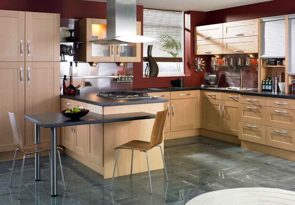 Inspiration for a contemporary kitchen remodel in Other with shaker cabinets, light wood cabinets, red backsplash and glass sheet backsplash