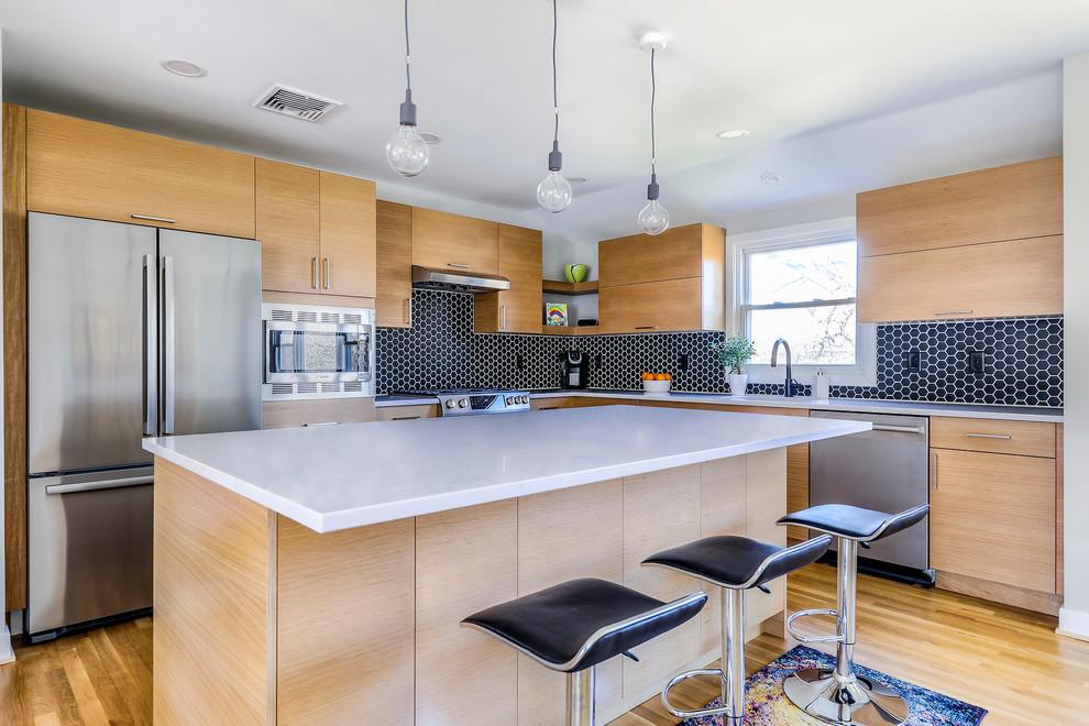 Contemporary Kitchen with Black Hexagon Backsplash ...