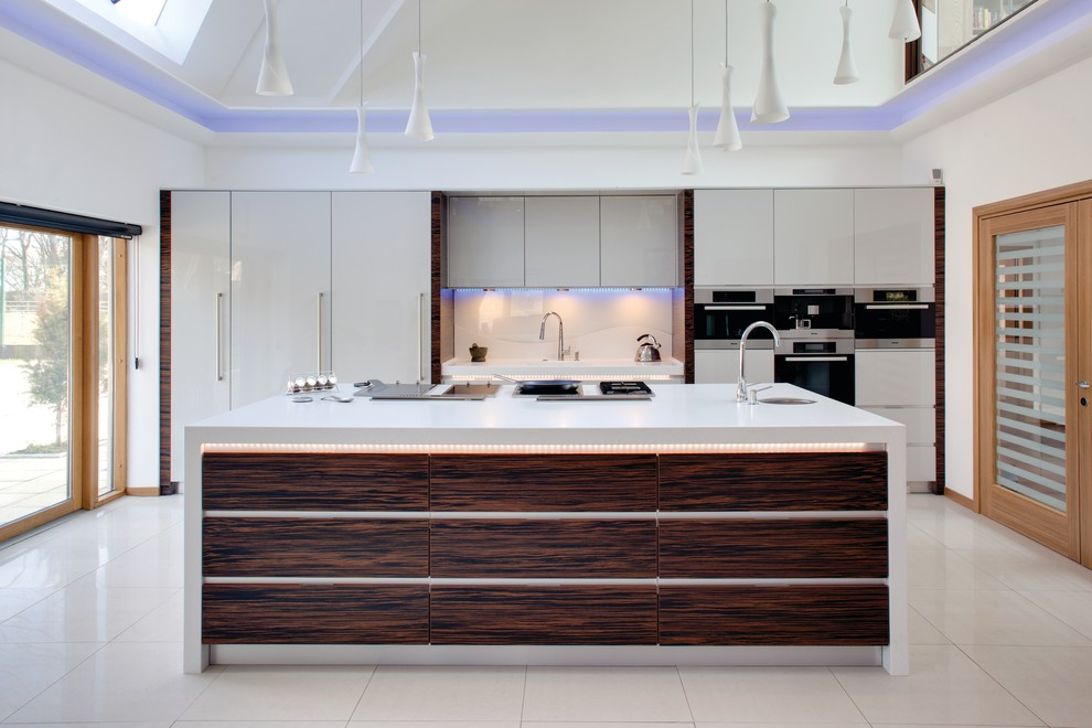 Contemporary kitchen with Ebony Macassar accents