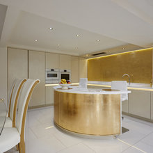 Contemporary Kitchen with Gold Leaf Island