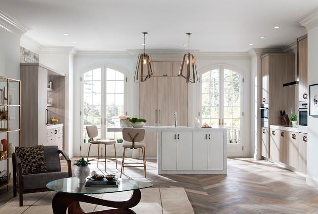 contemporary kitchen with metropolis door in silver elm contemporary kitchen - Living Kitchen Raleigh