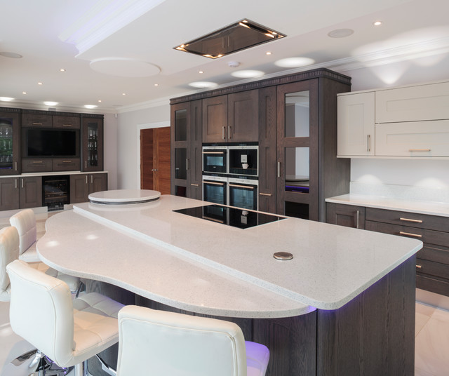 Tate anthracite and mussel oak with black white zebrano for Kitchen ideas zebrano