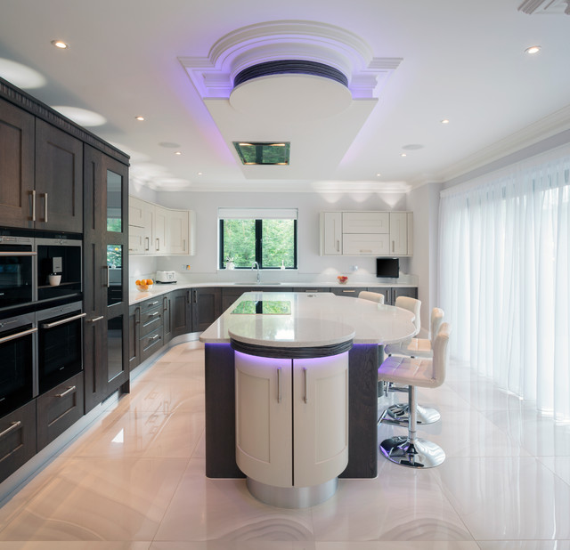 Contemporary kitchen with mixed oak frames and colour-changing LEDs contemporary-kitchen