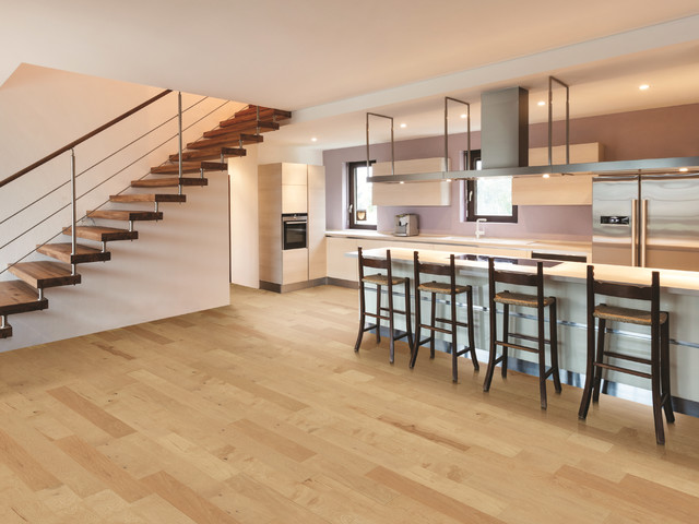 Contemporary Kitchen With Natural Hickory Floors Contemporary Kitchen