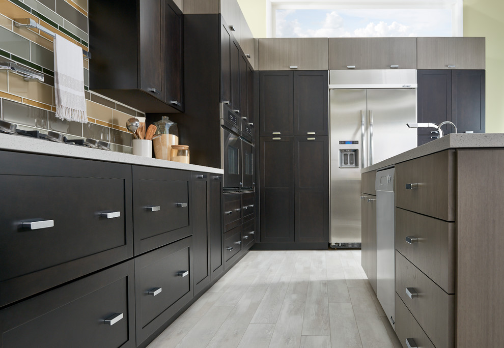 Contemporary Kitchen with Plainview and Slab door styles ...