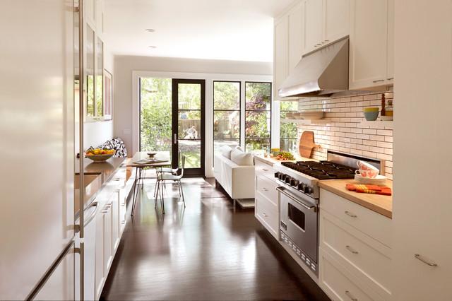 Contemporary Kitchen With White Oak Floor Transitional