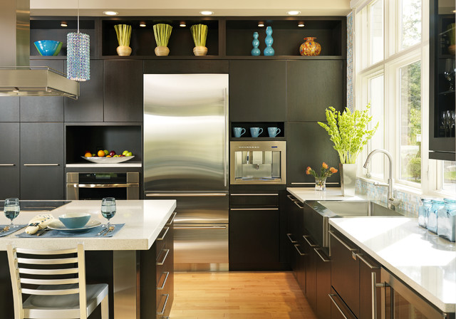 Exceptional Contemporary Kitchen Designs   Contemporary Kitchen Idea In Boston With  Stainless Steel Appliances, A Farmhouse