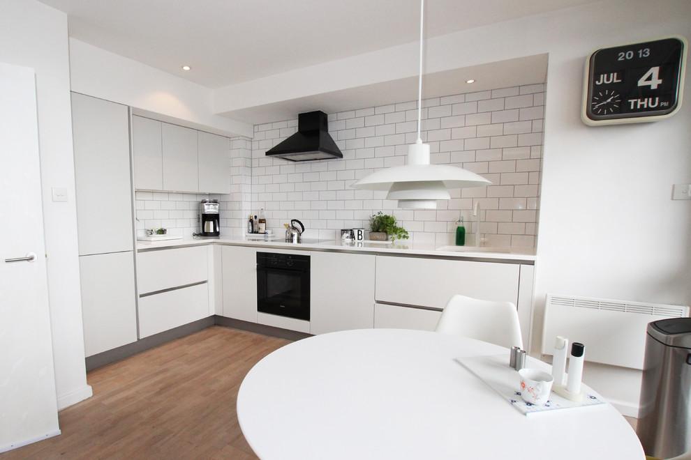 Contemporary matt white kitchen