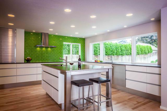 Contemporary Minimalist Nature Indoor Outdoor Kitchen