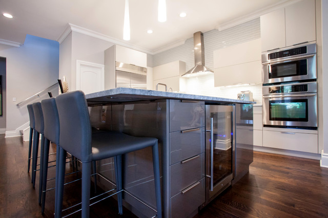 ... Painted Grey Kitchen with High Gloss Island contemporary-kitchen