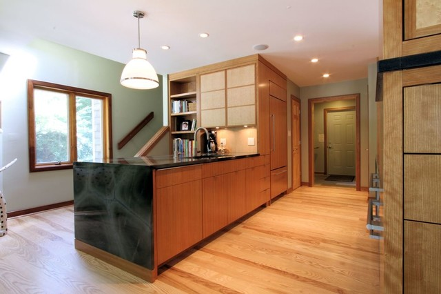 Contemporary Peninsula Kitchen With Mitered Waterfall