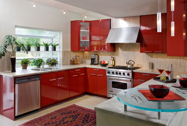 Contemporary Red Hot Kitchen - Contemporary - Kitchen - San Diego ...