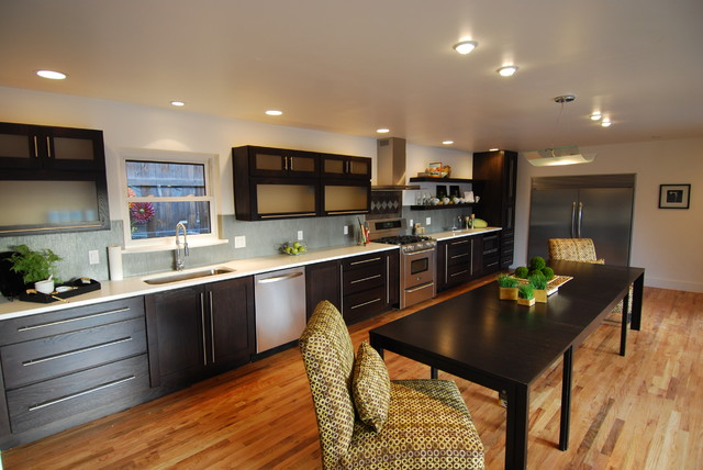 Contemporary Remodel Old Denver Ranch Contemporary Kitchen New Long Kitchen Design