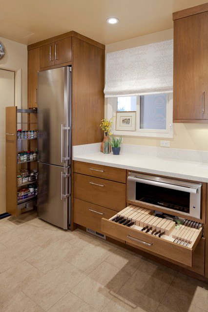 Contemporary small kitchen contemporary kitchen san for Modern kitchen cabinets for small kitchens