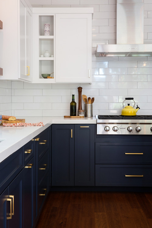 What color is used on the lower cabinets, please?
