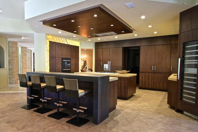 Contemporary walnut contemporain cuisine orange for Architecture cuisine et bains