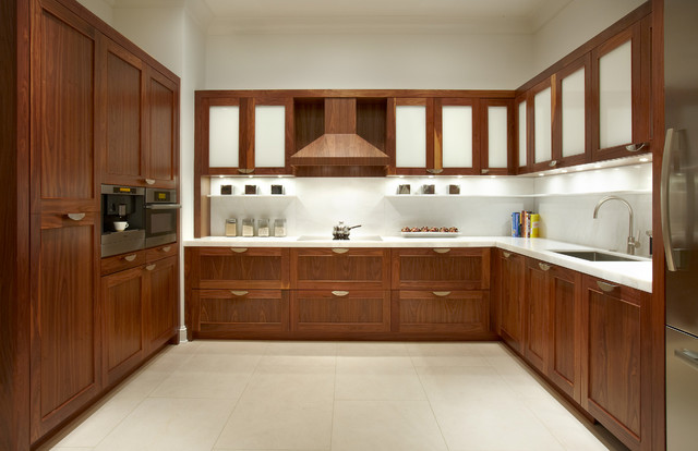Contemporary Walnut Kitchen Cabinets Traditional