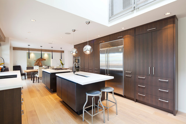 Contemporary walnut contemporary kitchen other by for Full wall kitchen units