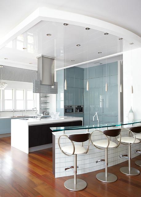 Large Trendy U Shaped Medium Tone Wood Floor Open Concept Kitchen Photo In  Miami With. Email Save. Cara McBroom, Licensed Interior Designer
