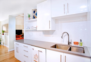 Contemporary white high gloss foil kitchen cabinets for Kitchen cabinets austin