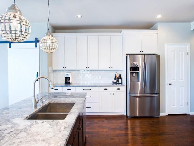 Contemporary White Kitchen with Espresso Island traditional-kitchen