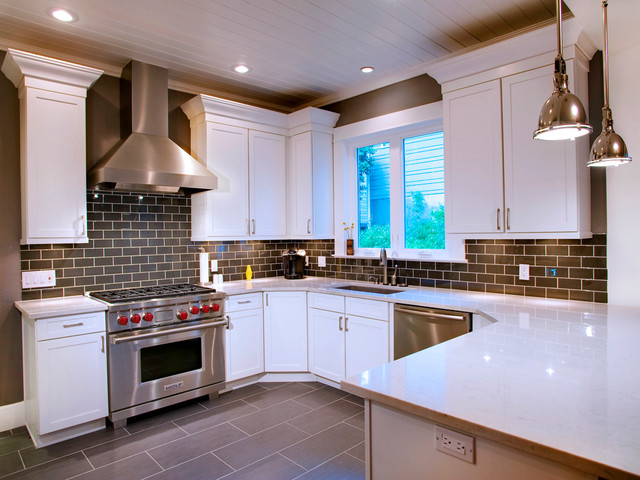 kitchen tiles for white kitchen. Contemporary White with Grey Subway Tile contemporary kitchen