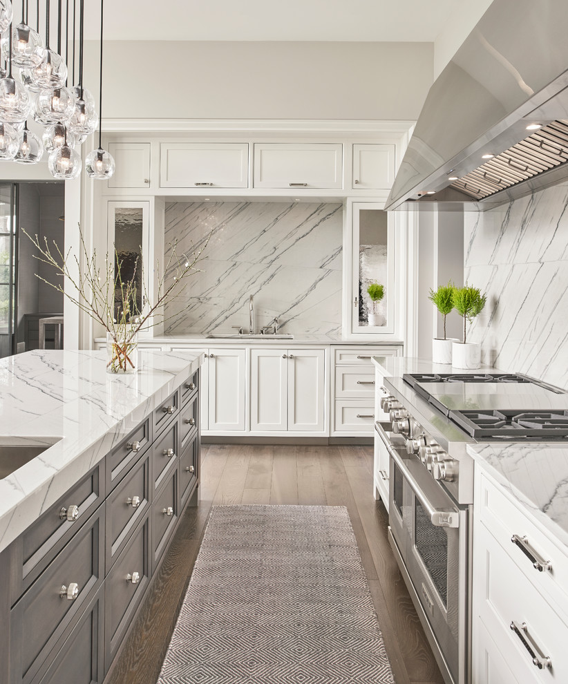 - Contrasting Grey Island & White Perimeter Cabinetry - Transitional