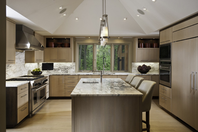 Contrasting sleek contemporary kitchen chicago by for Sleek modern kitchen cabinets