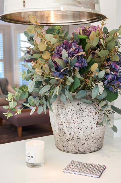 Contrasting Stone Vase With Soft Faux Flower Arrangement And Foliage Kitchen Hertfordshire By Claire Garner Interiors Houzz Nz