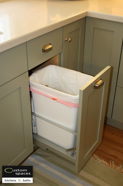 Convenient Trash Pull out traditional-kitchen
