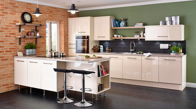 Cooke Lewis High Gloss Cream Kitchen Contemporary Kitchen South East By B Q