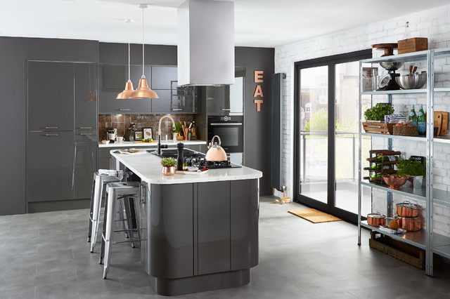 Cooke Lewis Rafello High Gloss Anthracite Contemporary Kitchen - Anthracite grey kitchen
