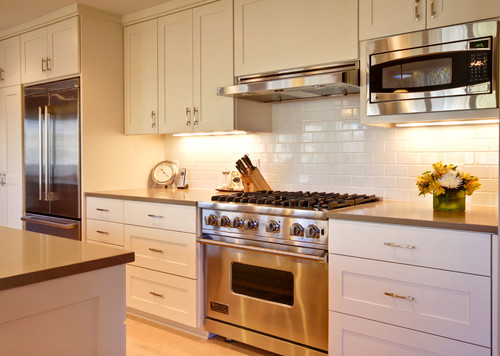 "Are your upper cabinets 12"" deep? If so, how did you get the microwave to look built-in?"