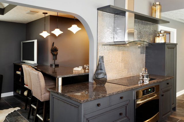 Cool Brown Contemporary Kitchen Living Area Contemporary Kitchen Indian